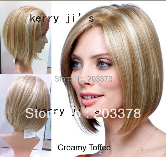 New Hot sale European Hith Quality Synthetic  Short BOB Hairstyle Lace front Blonde Wig