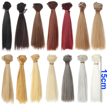 1 шт. волос refires bjd волос 15 см * 100 СМ черное золото коричневый хаки белый серый цвет короткий прямой парик волос по 1/3 1/4 BJD diy