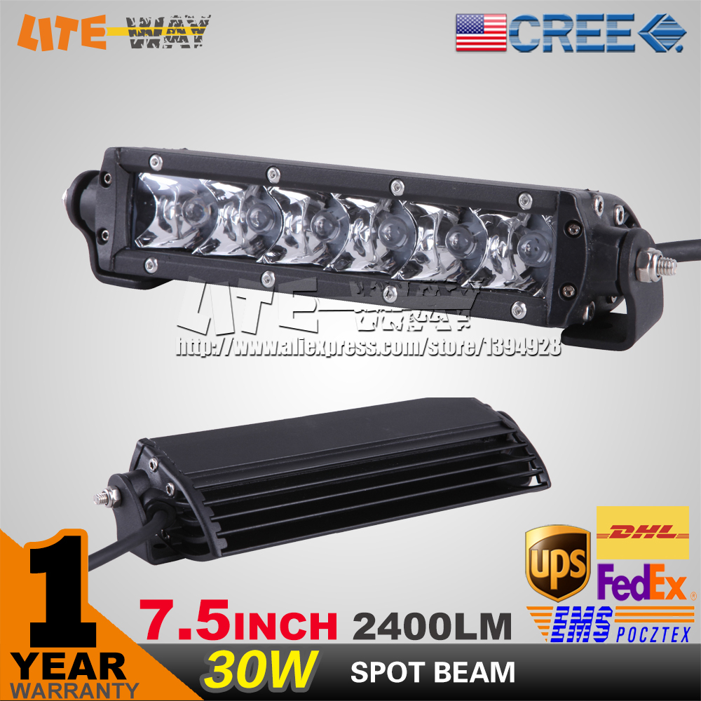 7.5 INCH 30W CREE LED WORK LIGHT BAR SUPER SLIM SPOT BEAM FOR OFF ROAD 4x4 TRUCK DRIVING LIGHT SECKILL 240W/300W(China (Mainland))