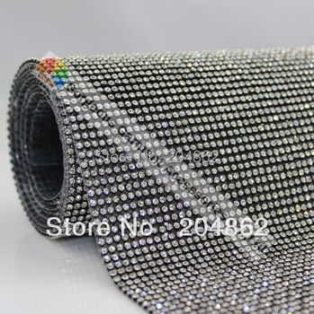High Quality Hot fix Rhinestone Mesh trimming with 3mm clear crystals with Black metal base For Garment Shoes Bags decoration