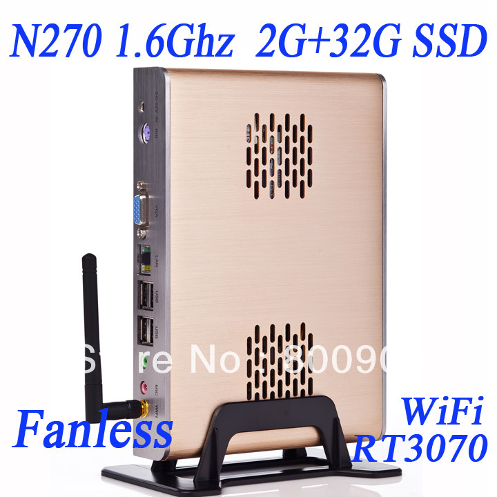wholesales small pc with low consumption Intel Atom N270 Core 1.6Ghz 533Mhz FSB 512 cache 2G RAM DDR2 32G SSD Windows 7<br><br>Aliexpress