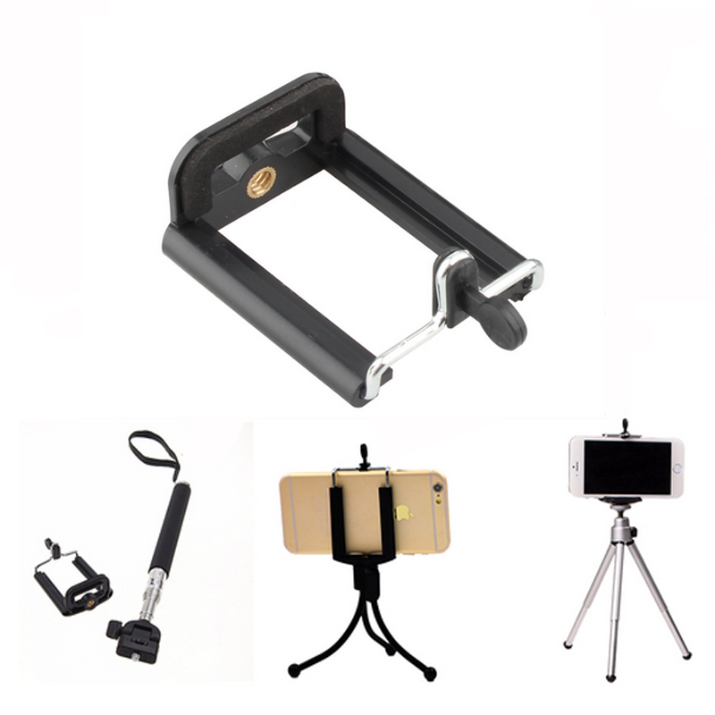 Adjustable Camera Stand Clip Bracket Holder Monopod Use For iPhone 7 7Plus/6 6s Plus/5s for Samsung Huawei Tripod Mount Adapter(China (Mainland))