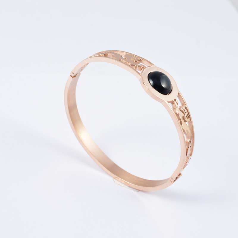 100% Original Vintage Hollow Drangon Rose Gold Plated Bangles Bracelet 316l Stainless Steel Black Shell - Bonnie jewelry s store