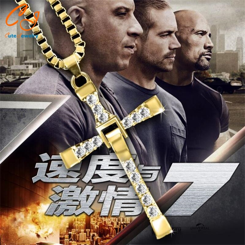 Freeshipping Fast and Furious Seven gold color Dominic Hot Selling Dominic Toretto Cross Men's Necklace Pendant wholesale 2016(China (Mainland))