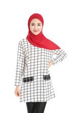 Adogirl Long Shirts Muslim New Autumn Women Full Sleeve Plaid Print Abaya Turkish Muslin T shirt Fashion Arabic Tops
