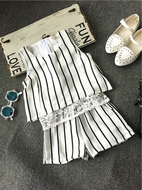 new summer 2016 fashion girl striped vest blouse+pants 2pcs girls clothing sets for kids suit 2~7age toddler baby girl outfits