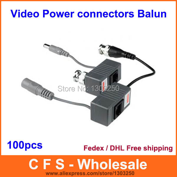 100PCS 1CH Passive CCTV Video Power RJ45 connectors Video Balun for CCTV Camera DVR Free Shipping High Quality wholesale New(China (Mainland))