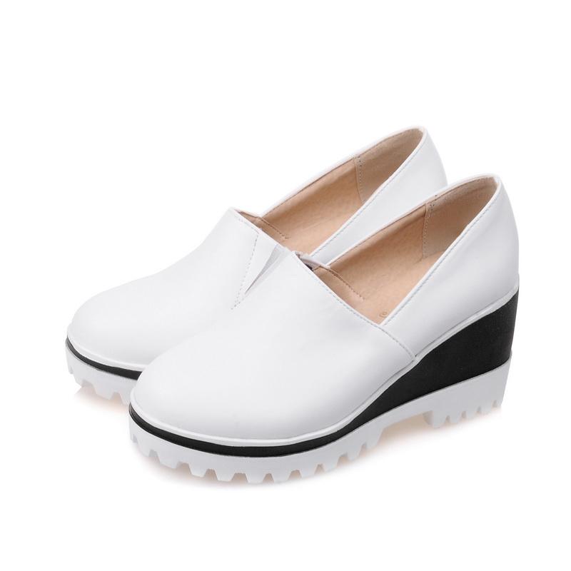 2016 New fashion round toe women pumps Leisure big size 33-43 white PU leather platform Wedges Slip-On high heel shoes HXZ-1-25 <br><br>Aliexpress