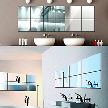 16Pcs Modern Removable Square Art Mirror Surface Wall Sticker Home Office Decor Store 48