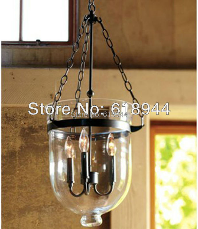 Glass Pendant Lamp for Dining Room Light Fitting, Wrought Iron Rustic ...