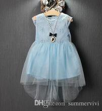 Girls dresses 2016 new children lace gauze Dovetail dress girls heart backless lace embroidered tulle dress kids princess dress(China (Mainland))