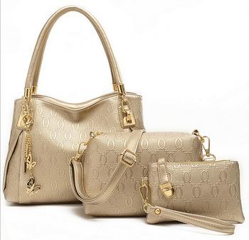 2015 Genuine Leather Handbags Designer Shoulder Women Messenger Bags Bolsas Femininas Tassel Handbag+Messenger Bag+Purse 3 Sets(China (Mainland))