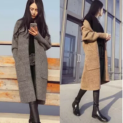 2015 New Women Long Cardigans Autumn Winter Jacket Coat Casual Knitted Oversized Sweaters Cardigan Warm Outwear WKS0020Одежда и ак�е��уары<br><br><br>Aliexpress