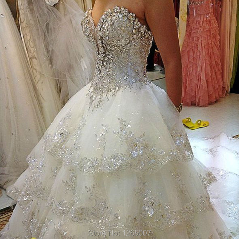 2015 ruffles long train sparkly silver diamond crystal for Add sparkle to wedding dress