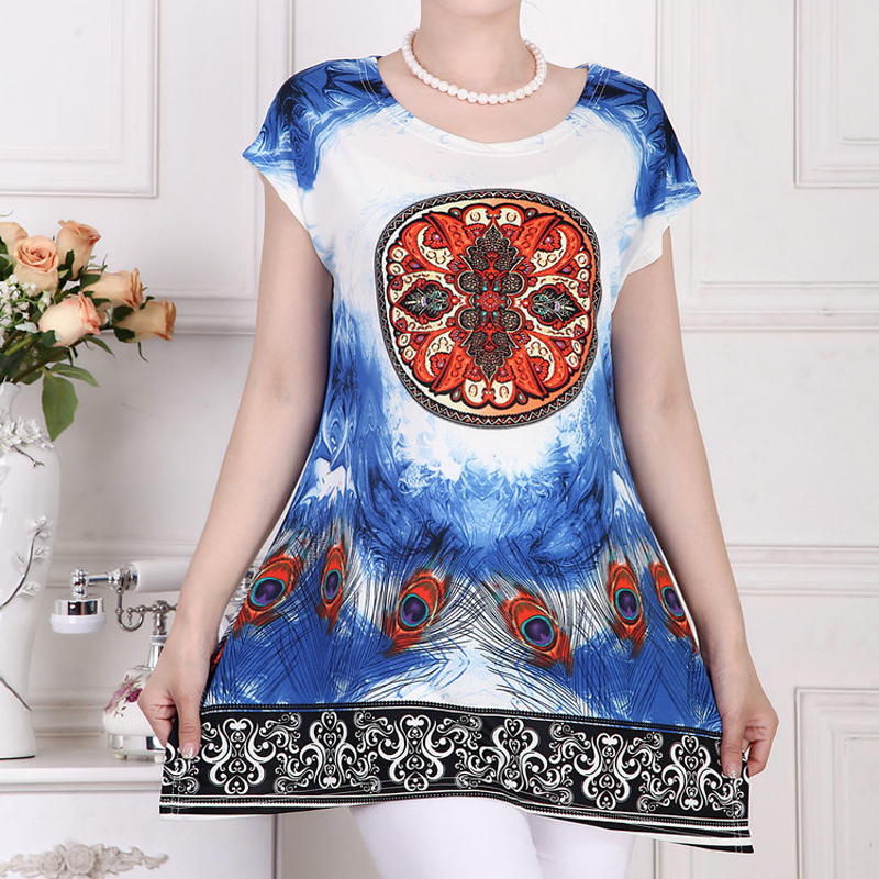 XL-5XL 2015 new summer t shirt plus size fashion tops loose round neck T-shirt Printed long sections short sleeved t shirt(China (Mainland))