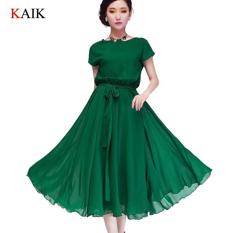 ladies Summer Dresses 2015 Women Casual chiffon maxi Dress Party plus size short sleeve ruffles green Vestidos Femininos Black(China (Mainland))