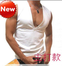 sexy men underwear diy Male V-neck wide shoulder vest 100% cotton waistcoat customize summer solid color basic shirt