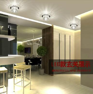 Modern LED Ceiling Spotlights 3W Crystal Balcony Hallway Living Room Lamp Aba