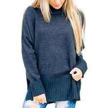 Новинка 2018, хлопковый зимний женский свободный свитер с высоким воротом, пуловер, топы, рубашки высокого качества(China)