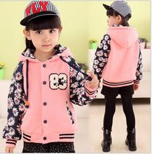 Kids girls autumn clothing big virgin plus velvet coat floral embroidered cashmere sweater girls baseball clothes jacket(China (Mainland))
