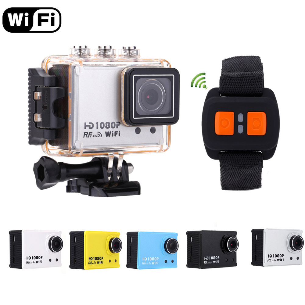 5 Colors !! AT200 Mini WiFi Action Camera 30M Waterproof 1080P Sport Diving DV Video Camcorder DVR with Remote Control Watch(China (Mainland))