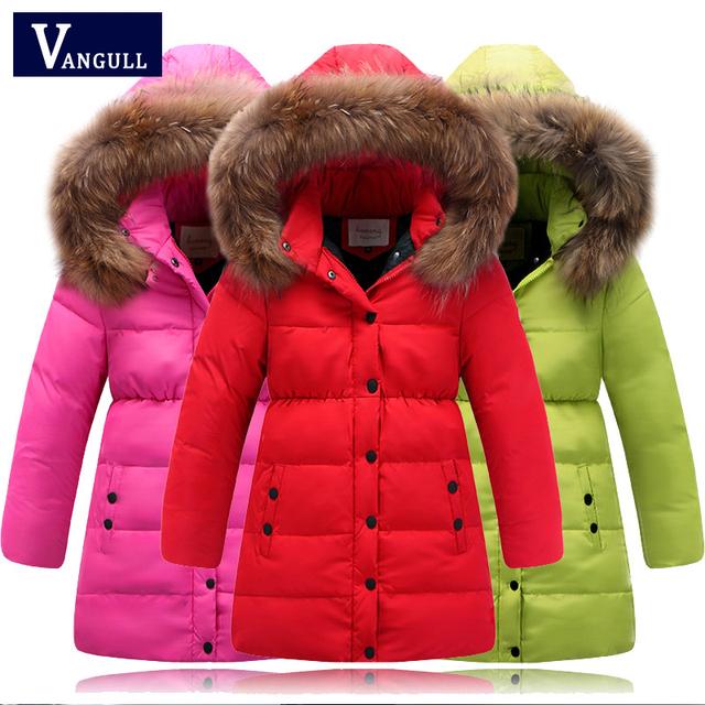 2016 Высокое качество дети пуховик для девочек одежда натуральные волосы воротник капюшоном детские зимние куртки девушки зимнее пальто Парки
