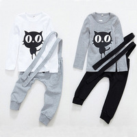 2016 spring 1-5T Kids Baby Boy Clothes Sets Cat Tshirt+Suspender Overalls pant, Children Costume Outwear Bodysuits Clothing set