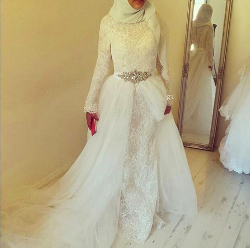 Muslim Wedding Dresses Without Hijab Vintage Lace White With