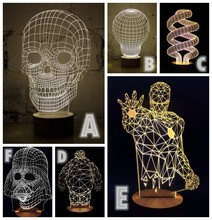 1Piece 3D Wood Skull Mood Lamp Darth Vader Bulbing Light USB Baymax Table Lamp  Ironman  Bumblebee Jesus Spiderman Tellurion(China (Mainland))