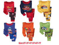 retail brand new boys car designer pajama  kids cotton sleepwear children pyjamas for 2-7 years 21 colors available! fast