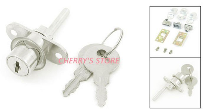 Home Furnitures Drawer Safety Protective Silver Tone Metal Lock w 2 Pcs Keys 2pcs(China (Mainland))
