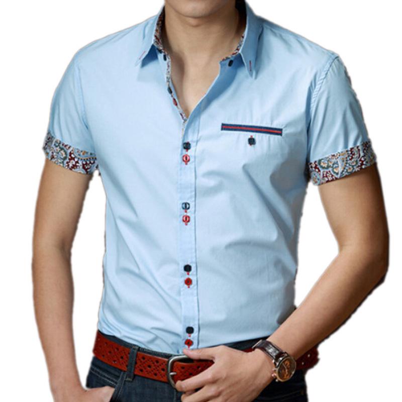 Лето фирменный стиль мужчины короткий рукав платье рубашки свободного покроя приталенный fit хлопок вилочная часть рубашка camisa masculina сорочка homme