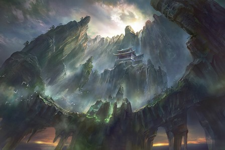 pagoda <font><b>Asian</b></font> architecture majestic mountain waterfall digital art rock formation 4 Size <font><b>Home</b></font> <font><b>Decoration</b></font> Canvas Poster Print