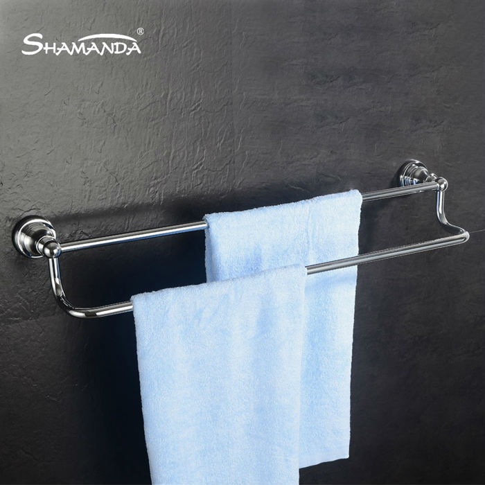 Free Shipping Solid Brass Chrome Single/Double Towel Bar Wall Mounted Towel Shelf Bathroom Hardware Bathroom Accessories Product(China (Mainland))