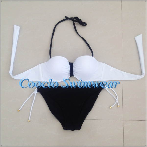 2015 women bikini set ,free vs, black and white swimwear, brand name swimsuit(China (Mainland))