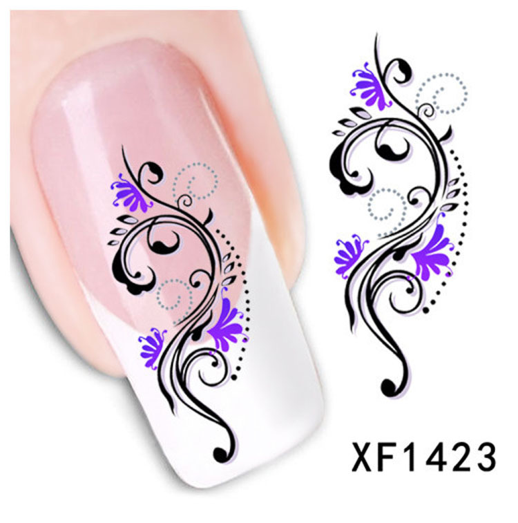 Fashion style watermark 1 Sheets 3D Design cute Purple flower Nail Art nail sticker nails Decal nail tools(China (Mainland))