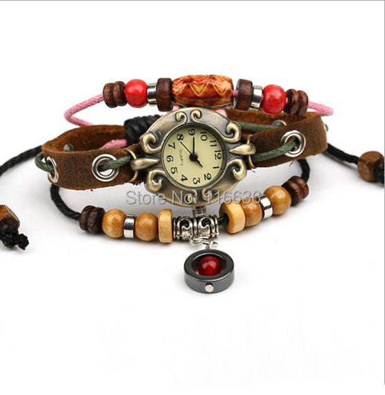 100pcs lot Genuine leather watch Indian Vintage Fashion RED Marvel Charm wristwatch Ruby Crystal Bracelet Watch Women wholesale<br><br>Aliexpress