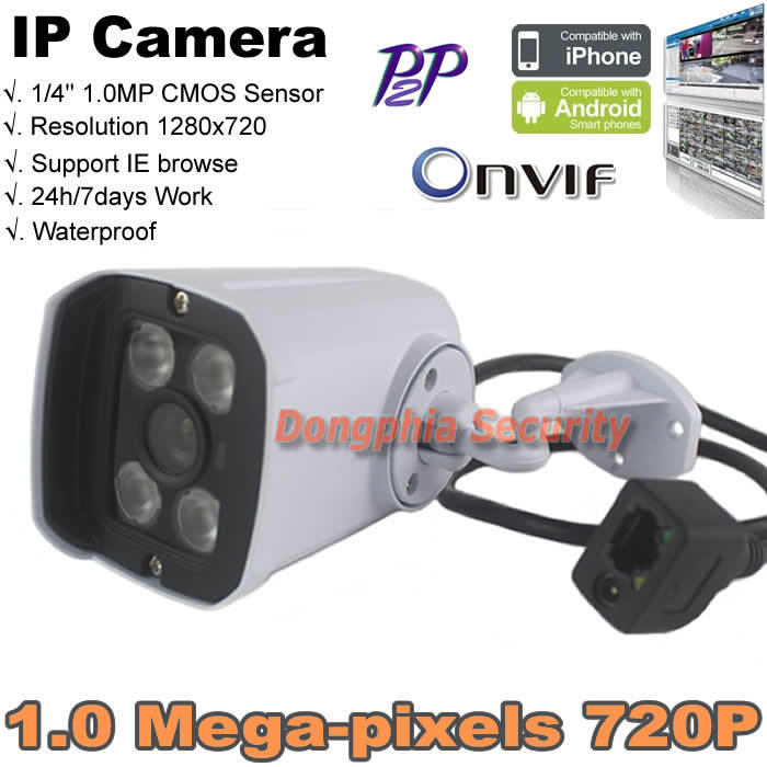 ONVIF 720P HD 1.0MP Waterproof Outdoor IRCUT Filter Night Vision P2P IP Camera Support Motion Detect For Network Security Camera(China (Mainland))