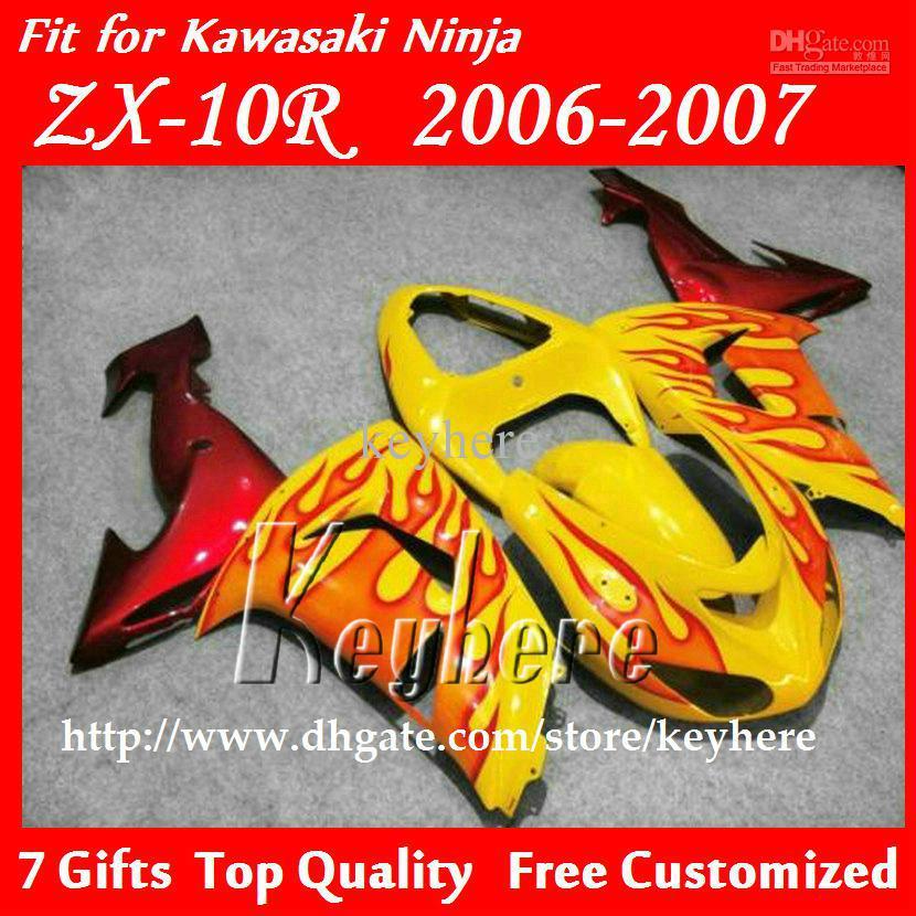 Free 7 gifts Custom race fairing kit for Kawasak Ninja ZX-10R 06 07 ZX10R ZX 10R 2006 2007 G3e fairings red flames orange motorc(China (Mainland))