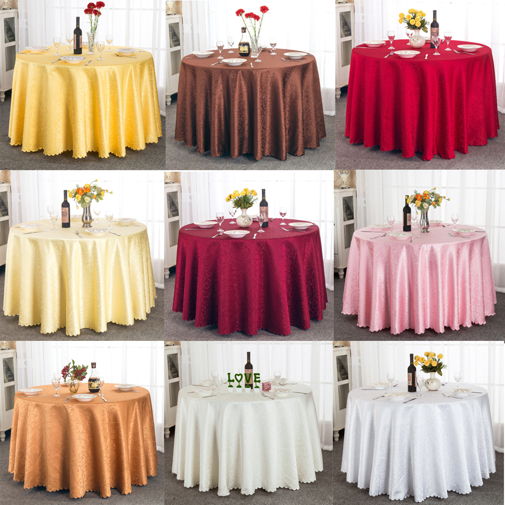 1pcs 108 inch/118 inch/132 inch Jacquard Round Tablecloth White/Pink/Gold/Ivory For Wedding Party Decorations(China (Mainland))