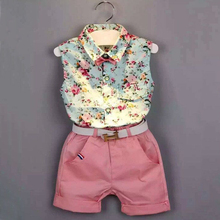 Girls Clothes Summer 2016 Brand Kids clothes Girls Clothing Sets casual Sleeveless Print t-Shirt+Shorts Suit Children Clothing(China (Mainland))