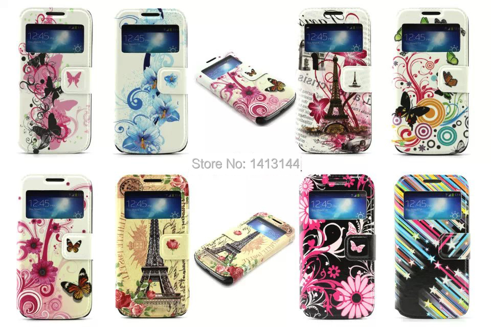Case Samsung Galaxy S5 mini SVmini Open Window Butterfly Heart Flag Lotus Stars Leather Phone Cases Bags Shell Cover S5mini - World store