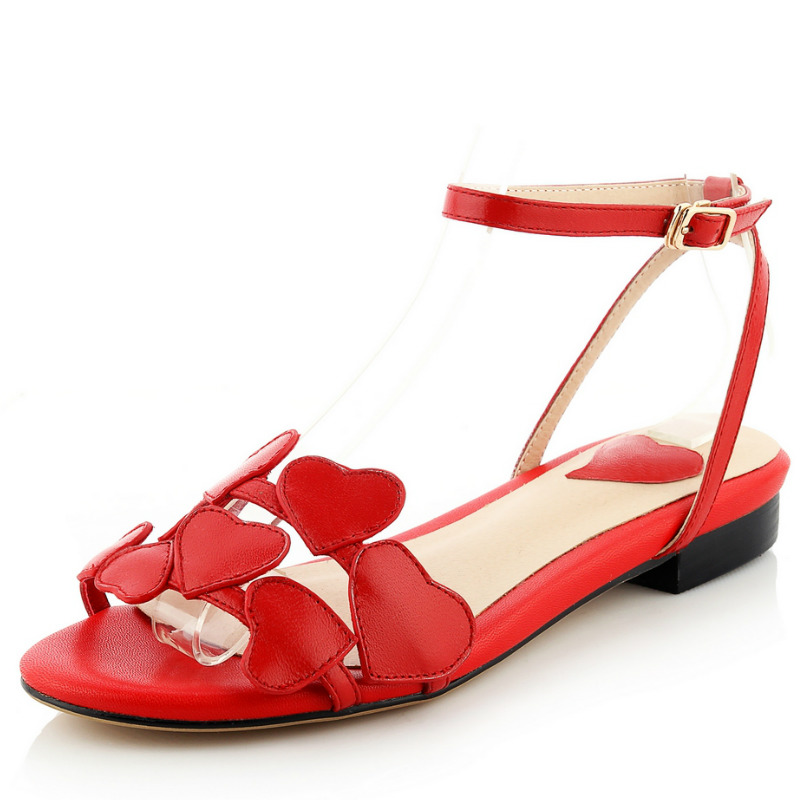 Фотография brand design full grain genuine leather flat heels women sandals 2016 red hearts hollow out fashion ladies summer sweet shoes