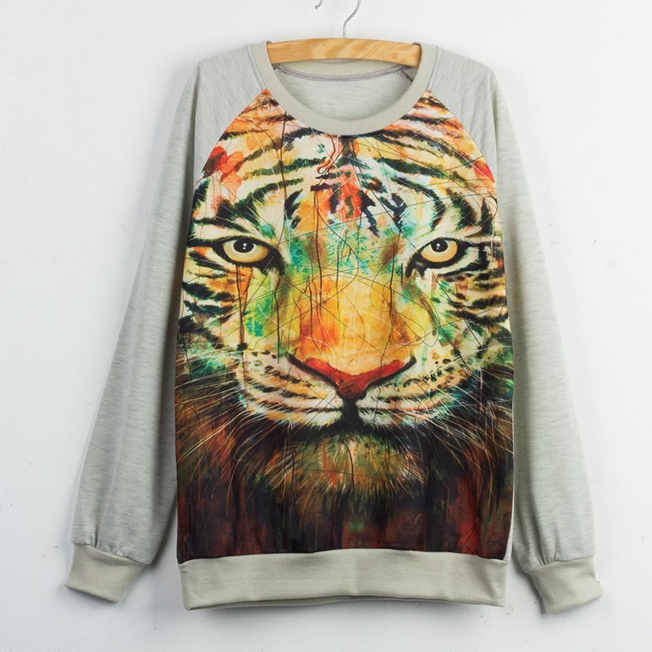 2016 dress hoody sweatshirts tiger Print adventure time sweatshirt jogging femme hoodies velour tracksuit felpe donna moletom(China (Mainland))