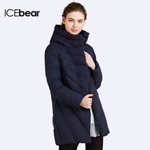 ICEbear 2016 Solid Color Long Women Winter Jacket Women Fashion Padded Coat Hooded Overcoat Women's Parka 16G6219(China (Mainland))
