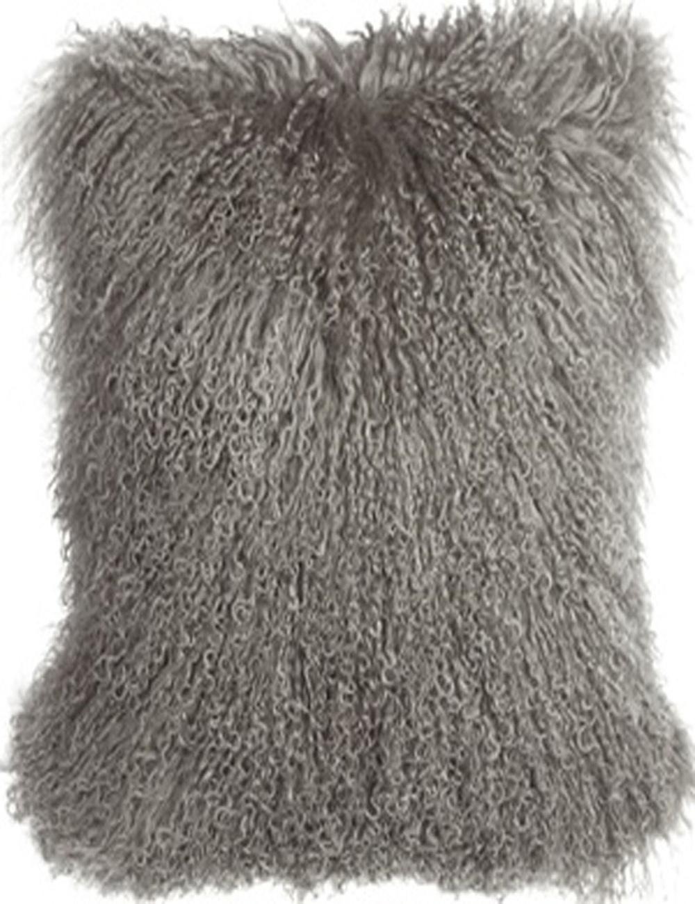 Fur Throw Pillow Covers : 2016 Free Shipping Gray Mongolian Lamb Fur Pillow Cover Tibetan Fur cushion covers Decorative ...
