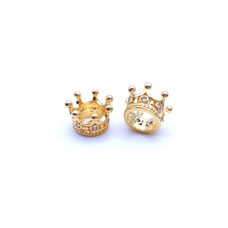 2016 New Arrival!Micro Pave CZ Cubic Zirconia Crown Charm Metal for Jewelry Bracelet DIY Making Spacer Bead Zirconia Crown Beads(China (Mainland))