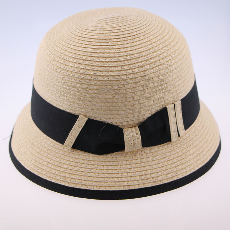 2015 Fashion Summer Women Chapeau With Ribbon For Decoration Beige Camel Casual Beach Sun Foldable Straw Raffia Hat(China (Mainland))