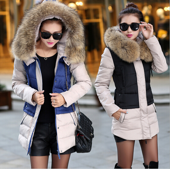 2015 Brand & Parkas Women Winter thick Coats Fur Collar Slim Long Jacket Hooded Warm Coat Parka - Charlotte's fashion store