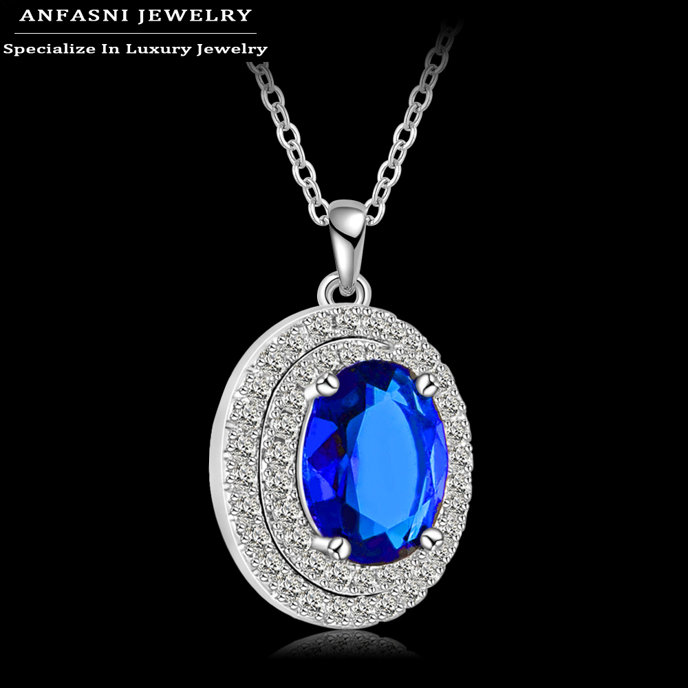 Best Seller Pendant Necklace Platinum Plt Round Shape Micro Inlay Cubic Zircon Blue Pendant Jewelry For